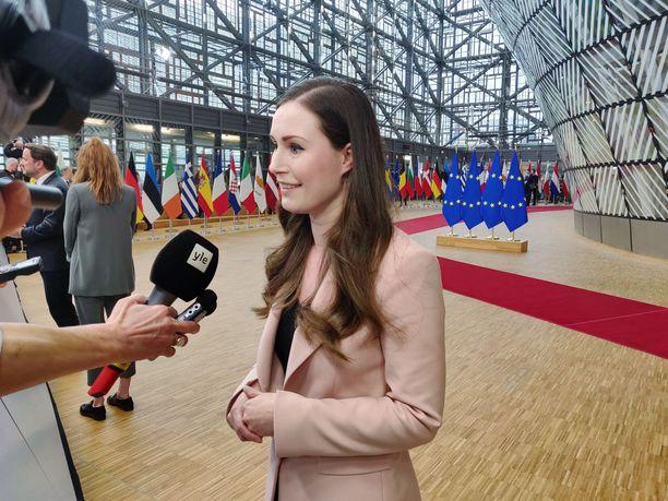 Pääministeri Sanna Marin EU:n huippukokouksessa Brysselissä helmikuussa.