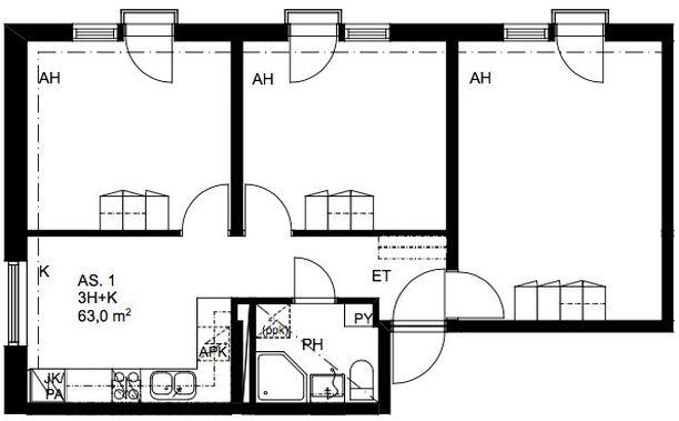 Kolmen asuinhuoneen soluasunnossa on tilaa yhteensä 63 neliömetriä.