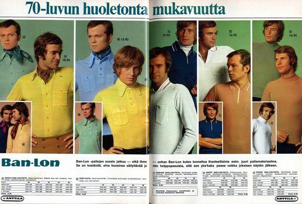 Vuoden 1970 katalogissa miehille myydään huolettomuutta.