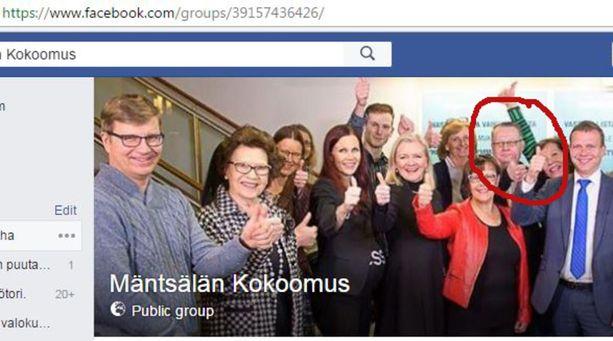 T. Antero Aura on kuvassa punaisella ympyröitynä. Kuvakaappaus Mäntsälän Kokoomuksen Facebook-sivulta.