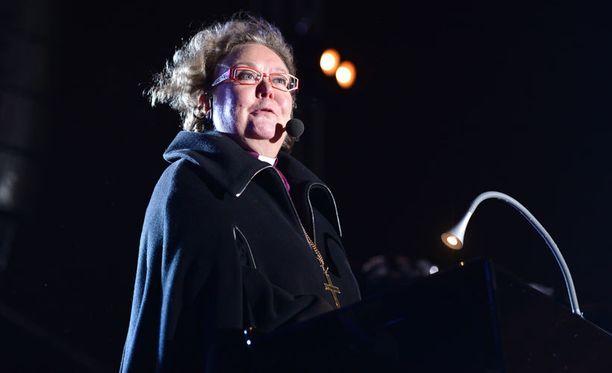 Helsingin piispa Irja Askola puhui kaupungin uuden vuoden juhlissa viime vuonna.