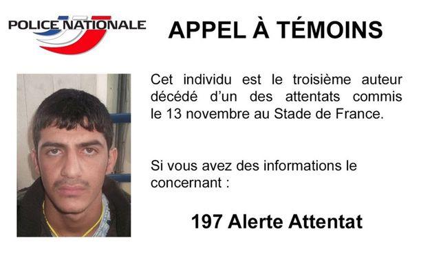 Ranskan viranomaiset pyytävät tietoja kuvassa olevasta itsemurhapommittajasta.