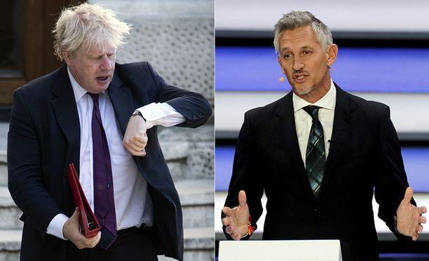 Gary Lineker (oikealla) ei pitänyt Boris Johnsonin twiitistä.