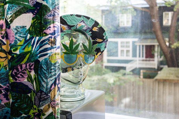 Lasipää ja lasit ovat Etelä-Ranskasta, jossa Tuisku on asunut hetken aikaa. Ikkunasta näkyy kaunista Puu-Vallilaa.