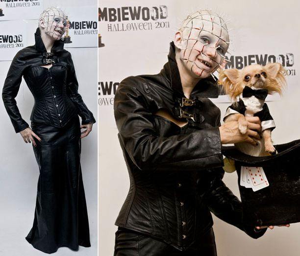 Tiinan tyyli halloween-kemuissa oli Pinhead goes feminine ja mukana oli myös taikurikoira Onni.