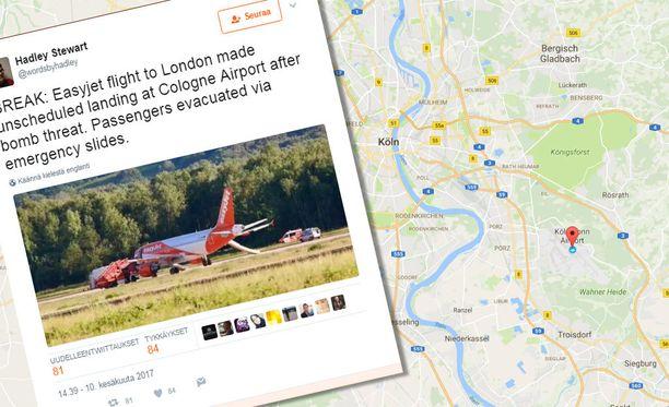 EasyJetin kone laskeutui Lontoon sijasta Kölniin terrorismiepäillyn vuoksi.