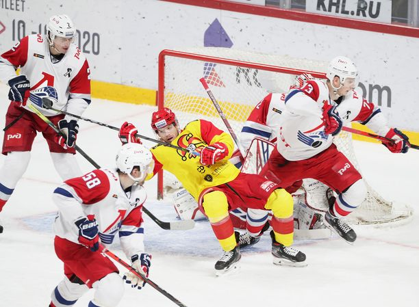 Lokomotiv Jaroslavin joukkueessa jyllää koronavirus. Kuva vuodelta 2019.