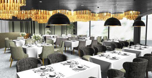 Hotellin ravintolassa pystytään laittamaan ruokaa suuremmallekin seurueelle. Keittiölläkin on kokoa 530 neliötä.