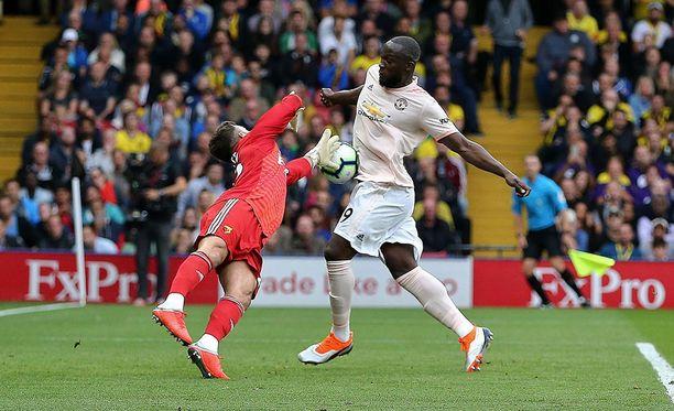Romelu Lukaku viimeisteli Manchester United -uransa 20. maalin Valioliigassa.