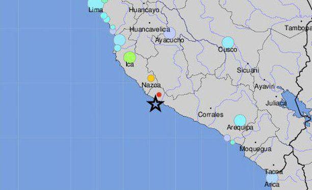 Maanjäristyksen keskus sijaitsi lähellä rannikkoa.