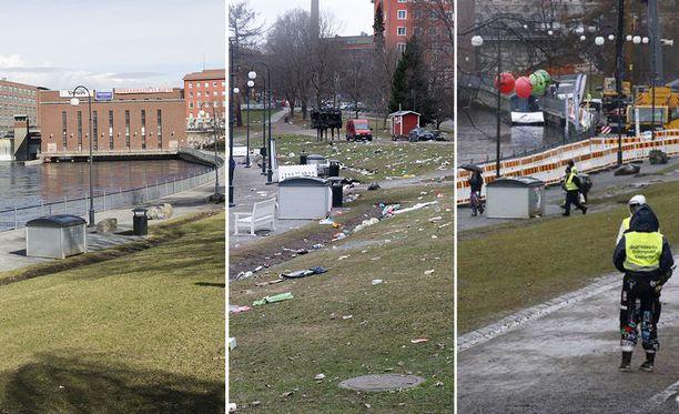 Tältä Tampereen Koskipuisto näytti ennen ja jälkeen vapun - sekä sen jälkeen, kun teekkarit olivat siivonneet sen. Kuvat näet suurempana jutun lopusta.