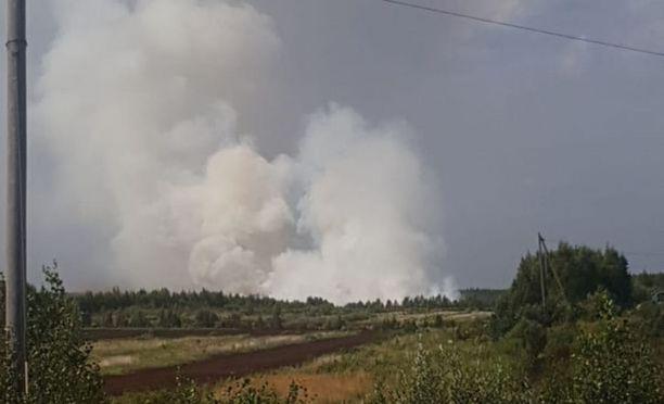 Palo turvetuotantoalueella sai aikaan suuren savupatsaan.