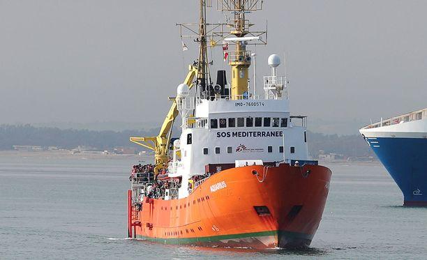 Aquarius-alus kuljetti viime viikolla Välimerestä pelastettuja ihmisiä Catanian satamakaupunkiin Sisiliassa.