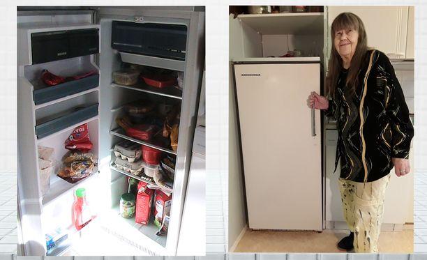 Kuvassa jääkaapin omistaja Annikki Iivari.