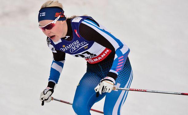 Anne Kyllönen hiihti maailmancupissa palkintopallille viimeksi joulukuussa 2013 Italiassa. Arkistokuva.
