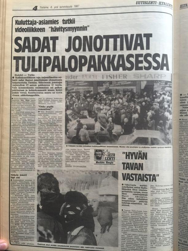 Turkulaisen kodinkoneliikkeen mainoskikka muodosti kenties koko suomalaisen jonotuskulttuurin alkusysäyksen.