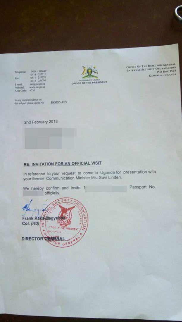 Tätä kutsukirjettä ISO:n Frank Bagyenda Kaka on väittänyt väärennökseksi.