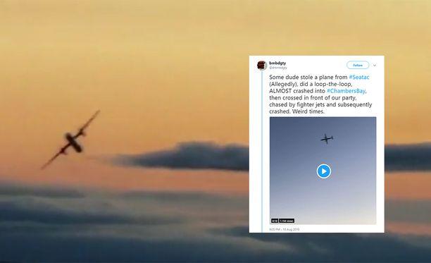 Seattle-Tacoman kentältä varastettiin Suomen aikaa tänä aamuna lentokone, joka putosi metsään.