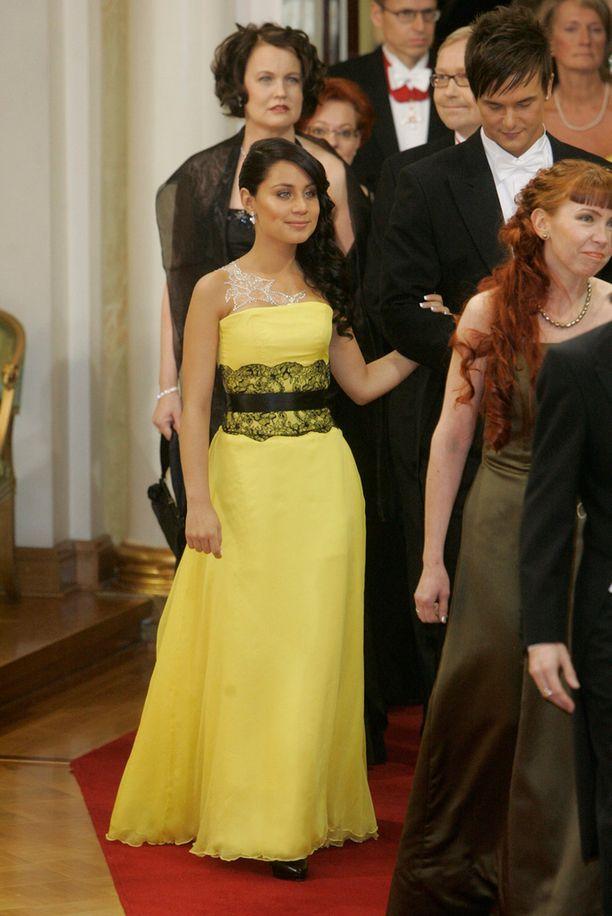 Anna Abreu osallistui vuonna 2008 linnan juhliin silloisen avopuolisonsa Panu Larnoksen kanssa.