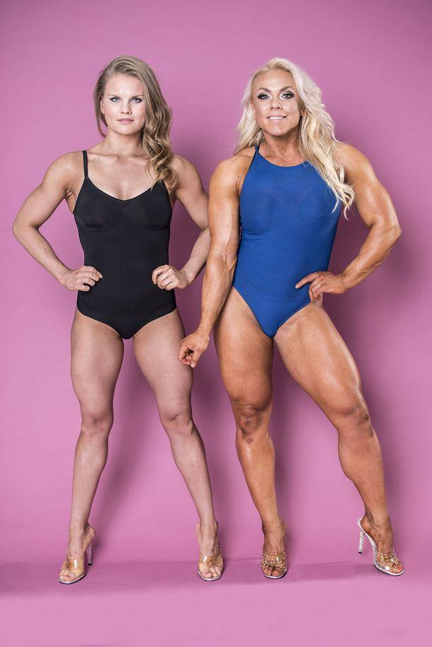 Minna Pajulahden ja Oona Ylitolosen kisapainossa on keväällä 15 kilon ero.