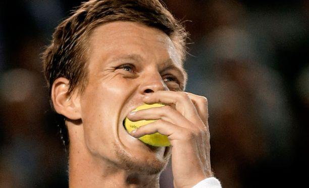 Tomas Berdych pani pallon suuhunsa.