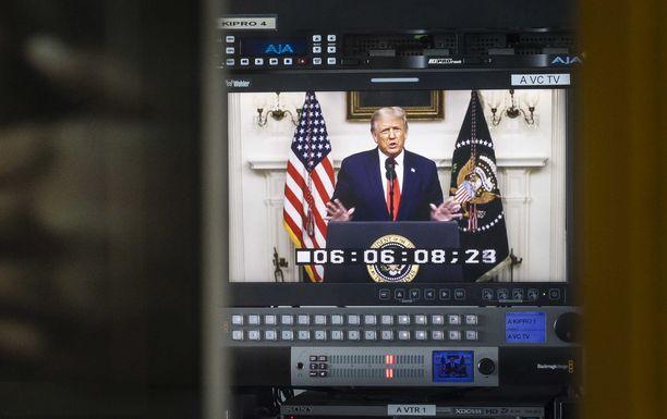 Yhdysvaltain presidentin Donald Trumpin puhe oli nauhoitettu etukäteen.