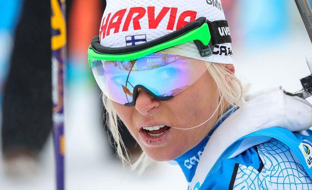 Olympianäyttöjä hiihdossa antava Mari Laukkanen selvitti tiensä jatkoon sprintissä.