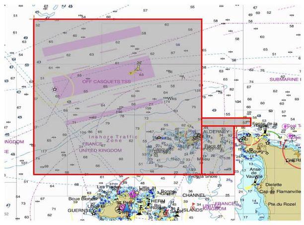 Kuvassa rajatulta alueelta Emiliano Salaa kuljettanutta lentokonetta etsittiin tiistaina.