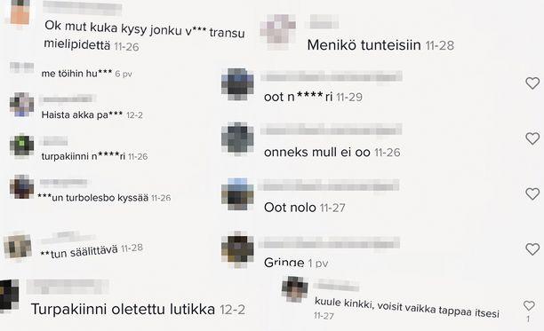 Kuvassa näkyvät kommentit löytyivät erään TikTok-käyttäjän julkaiseman videon alta.