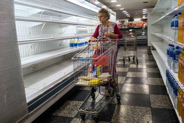 Venezuelan marketeista on ruoka loppu. Kuva on otettu Caracasissa viime viikolla.
