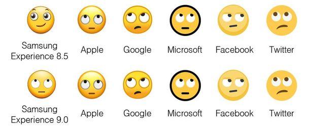 Kuvassa näkyy, miten erilainen Samsungin emoji on.