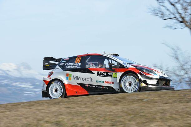 Kalle Rovanperä oli ensimmäisen shakedownin toiseksi nopein. Kuva Monte Carlosta.
