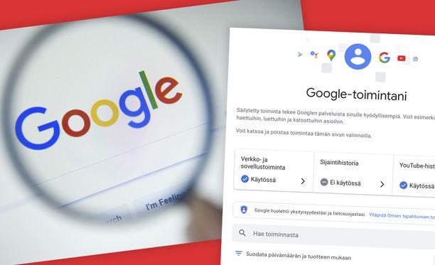 Google-asetukset kannattaa käydä läpi.