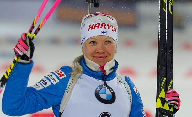 Kaisa Mäkäräinen voitti tänään SM-kultaa naisten viestissä.