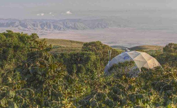 Majoista näkyy Ngorongoron suojelualueelle.