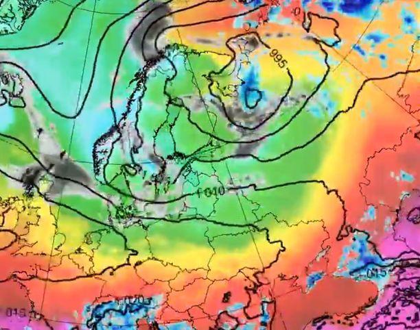 Sääkartta havainnollistaa, miten käytännössä kaikkialla Pohjoismaiden ympärillä vallitsee hellemassa.