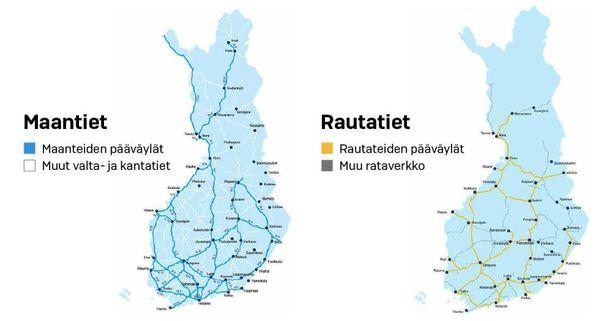 Näistä teistä ja rautateista tulee Suomen pääväyläverkosto.
