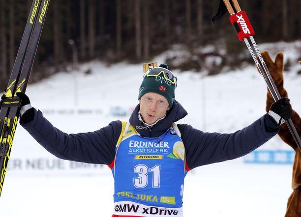 Norjan Johannes Bö oli ykkönen sunnuntaina Pokljukan maailmancupissa.