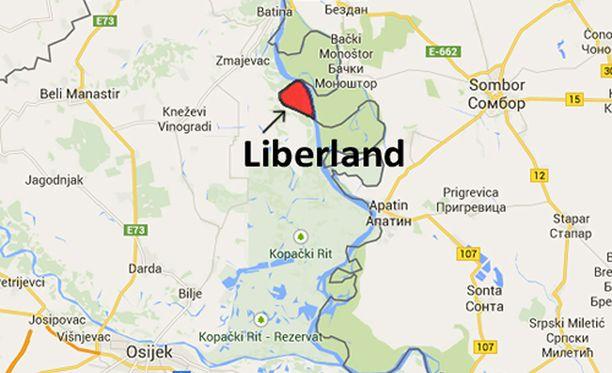 """Liberland sijaitsee Serbian ja Kroatian rajalla """"ei-kenenkään-maalla""""."""
