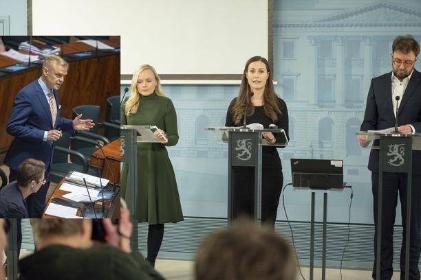 Kansanedustaja Timo Heinonen (pikkukuvassa vasemmalla) on tyytymätön hallituksen urheilukatsomopolitiikkaan. Kuvassa ministerit Maria Ohisalo (vas.), Sanna Marin ja Timo Harakka.