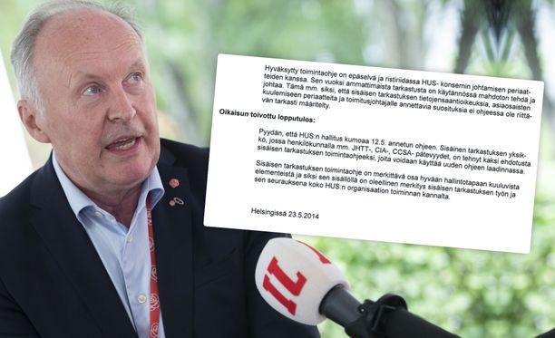 Sisäisen tarkastuksen työntekijä teki oikaisuvaatimuksen Husin hallituksen päätökseen, jolla yksikkö pantiin toimitusjohtaja Lindénin peukalon alle. Oikaisuvaatimus hylättiin. Nykyinen SDP:n kansanedustaja Aki Lindén toimi HUS:n toimitusjohtajana vuosina 2010-18.