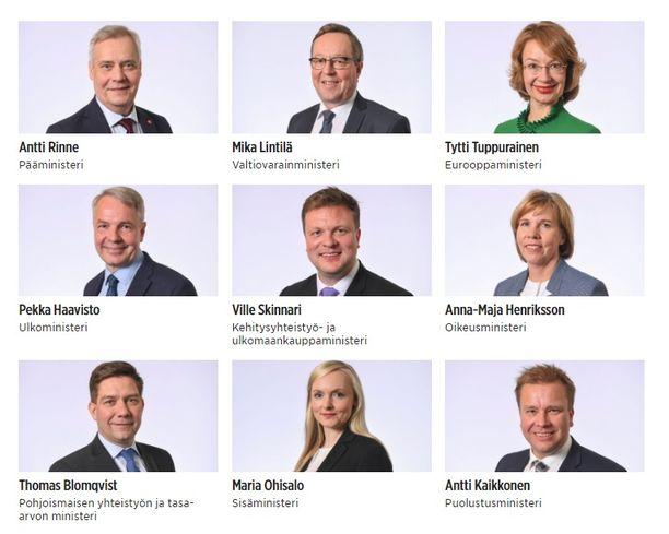 Antti Rinteen hallituksessa on 19 ministeriä. Kuvassa heistä yhdeksän.