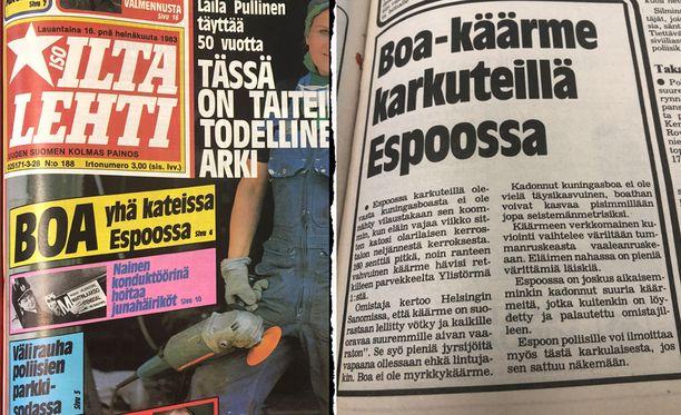 Joe-käärmeen katoaminen oli kesän 1983 mediatapaus. Myös Iltalehti uutisoi tuolloin aiheesta.