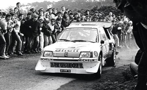 Timo Salonen vauhdissa Portugalin rallissa vuonna 1986.