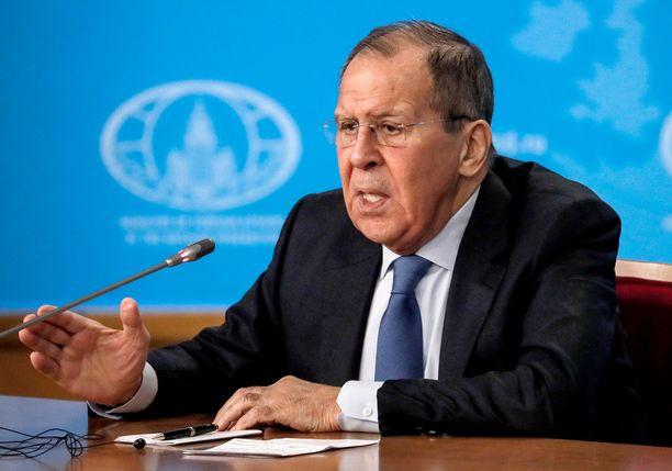 Sergei Lavrov puhui lehdistötilaisuudessa Moskovassa.