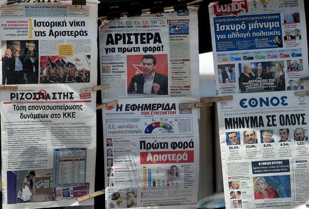 Kreikassa suosituimman puolueen paikan riisti hallituspuolueelta vasemmistolainen Syriza, joka vastustaa tukipakettipolitiikaa.