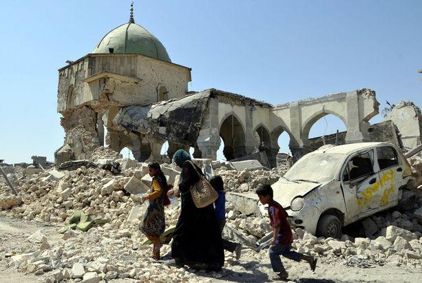 Irakin Mosulissa yhteenotot Isiksen ja Irakin sotilasjoukkojen välillä aiheuttivat huomattavaa tuhoa kesäkuussa 2017.