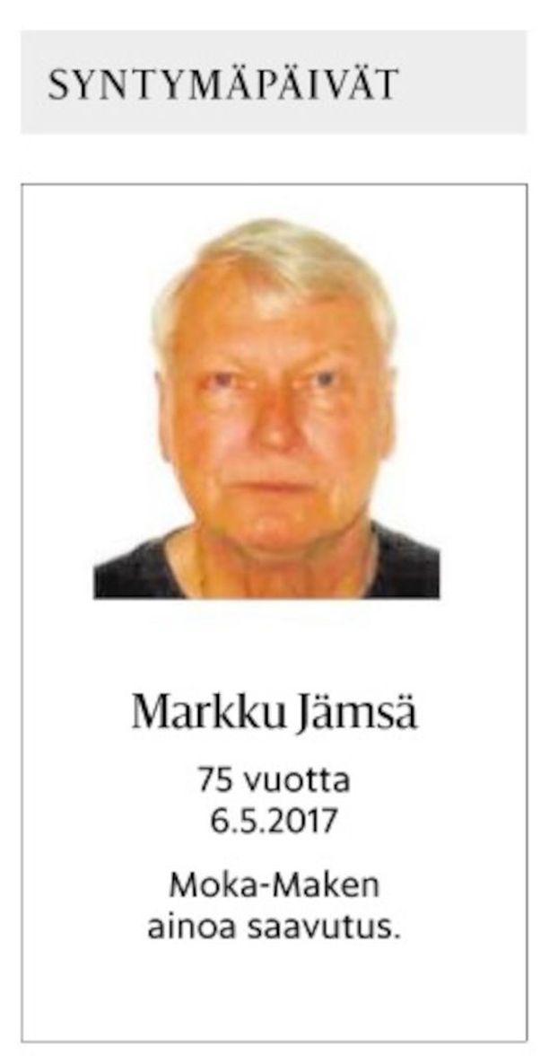 """Espoolainen Markku Jämsä, 75, eli """"Moka-Make"""" julkaisi katkeran syntymäpäiväilmoituksen viime viikon lauantain Helsingin Sanomissa. Olen onnistunut tekemään kaiken väärin, Jämsä kertoo."""