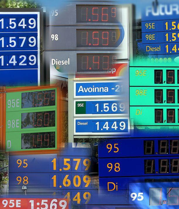 Bensan hinta saattaa vaihdella jopa samalla paikkakunnalla parikymmentä senttiä litralta.