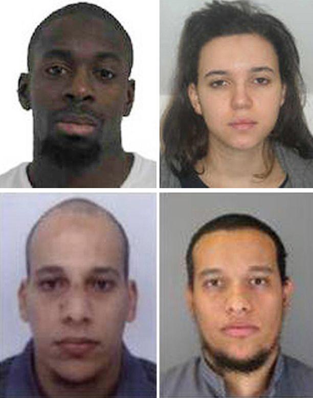Amedy Coulibaly (ylhäällä vasemmalla) ja Hayat Boumeddiene pitivät panttivankeja kosher-kaupassa itä-Pariisissa. Veljekset Cherif Kouachi, 32, (vasemalla) ja Said Kouachi, 34, kuolivat poliisin piirityksessä painotalossa.